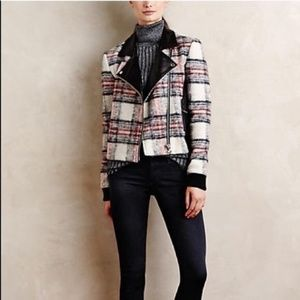 Anthropologie Paige Leather Plaid Moto Jacket